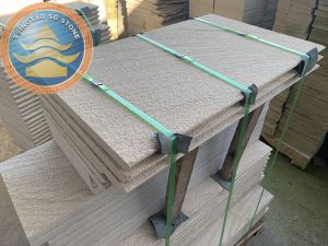 Bush Hammered Yellow Sandstone Paving