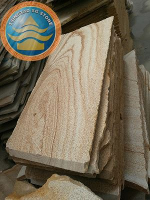 Bush Hammered Yellow Wood Grain Sandstone Paving